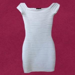 Curvy Ivory silk-like Off Shoulder Dress